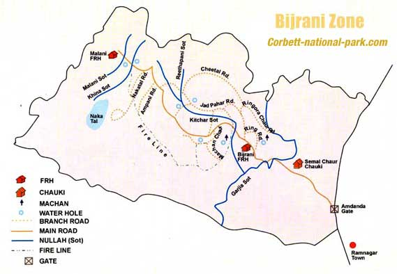 Bijrani Zone Map, Corbett
