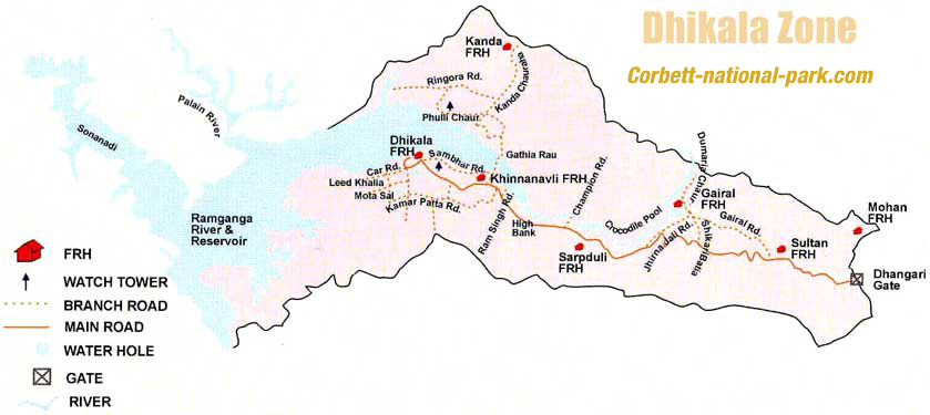 Dhikala Zone Map, Corbett
