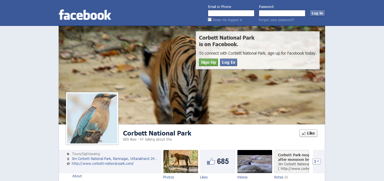 Corbett National Park Facebook Page