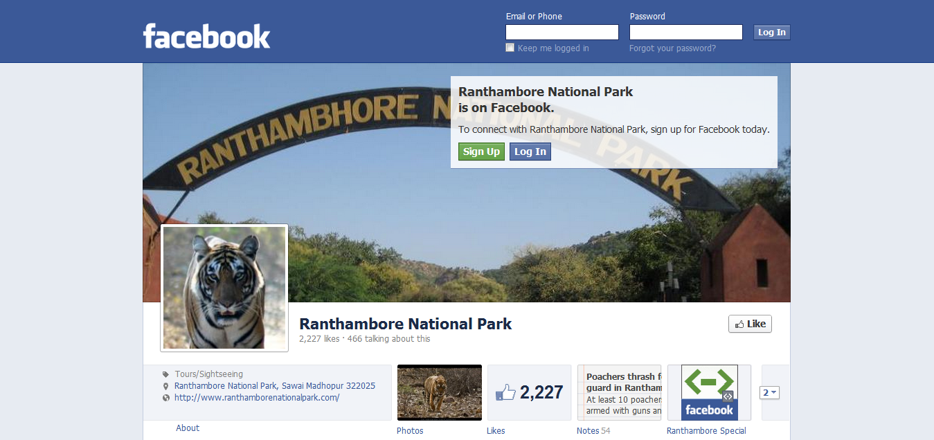 Ranthambore National Park Facebook Page
