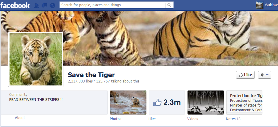 Save the Tiger Facebook Page