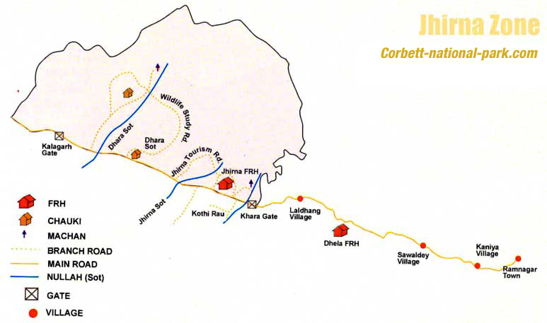 Jhirna Zone Map, Corbett